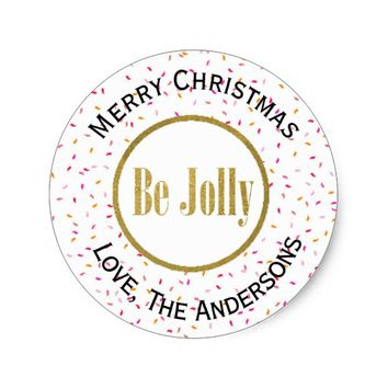 Be Jolly Personalized Christmas Classic Round Sticker
