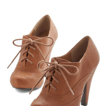 ModCloth Menswear Inspired Flying First-Sass Heel in Cognac