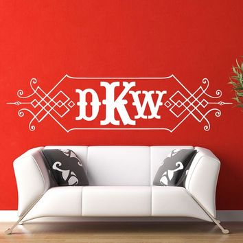 Vinyl Wall Decal Sticker Art - Art Deco Style Monogram - Large