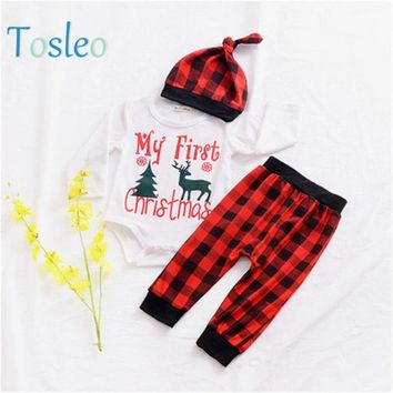 My first Christmas Baby Clothes Boys Party Clothing Bodysuit+Pant+Hat Infant Outfits Funny Letter Print Festival Clothes 0-2Y