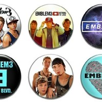 "Set of 6 New Emblem3 1.25"" Pinback Button Badge Pin"