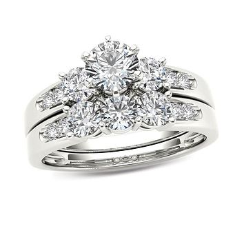 1-1/2 CT. T.W. Diamond Three Stone Bridal Engagement Ring Set in 14K White Gold