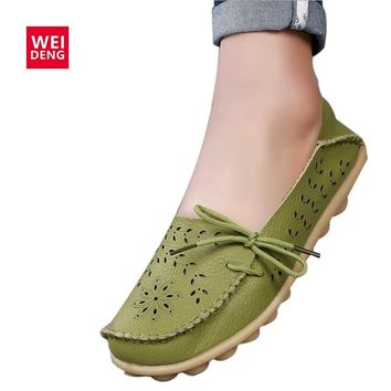 WeiDeng15 Colors Women Genuine Leather Flat Gommino Moccasin Loafers Casual Ladies Slip On Cow Driving Fashion Ballet Boat Shoes