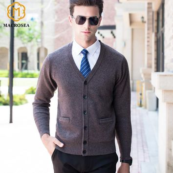 MACROSEA High-end Men's Brand Clothing Leisure Design High Quality 100% Merino Wool Sweatercoat Male's Wool Cardigan