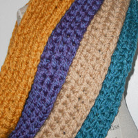 Chunky Infinity Scarf Cowl Handmade Crochet Choose Color Custom Teal, Purple, Gray, Mustard, Tan