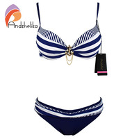 Andzhelika Bikini 2016 New Push Up Swimwear Retro Navy BLue Black White Striped Anchors Bathing Suit Bikini Set Monokinis AK1648