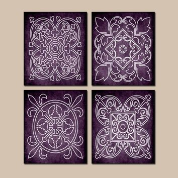 Purple Wall Art, CANVAS or Prints, Medallion Outline, Purple Bathroom Decor, Purple Bedroom Decor, Matching Decor, Set of 4 Wall Handing