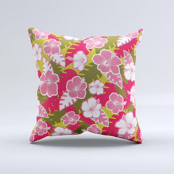 Pink & Green Hawaiian Floral Pattern V4 Ink-Fuzed Decorative Throw Pillow