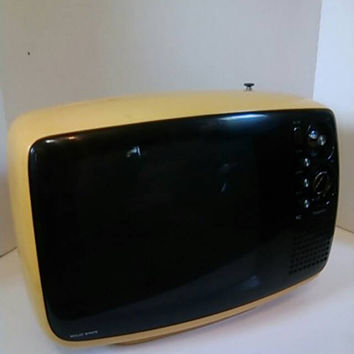 1970s Rare Yellow Color Retro Panasonic Solid State Television Set Working Order MidCentury Modern Showcase Display Piece FREE SHIPPING!
