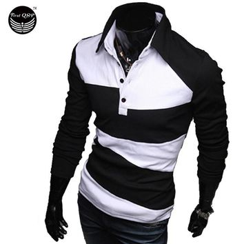 Mens Polo Shirt Brands 2016 Male Long Sleeve Fashion Casual Slim Hit The Color Design