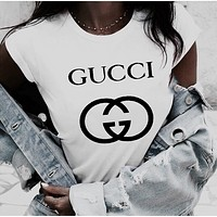 GUCCI Top Printed letters pattern loose lovers cotton T-shirt B-ZANDNR White