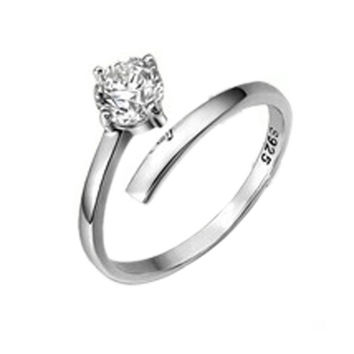 925 Sterling Silver White Rhinestone Inlay Opening Adjustable Couple Lover Rings Charm Jewelry = 1929808324