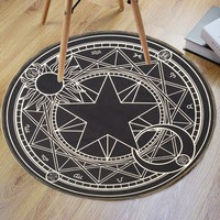 Crystal Velvet Fabric Magic Circle Round Bath Rug