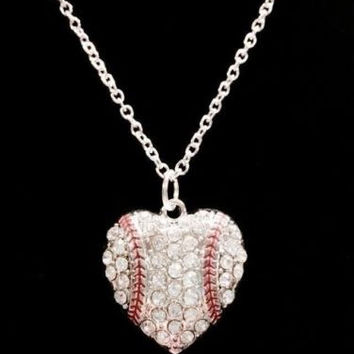 Crystal Baseball Heart Softball Mother Gift Charm Necklace