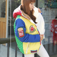 Multi Coloured Patched Puffer Coat
