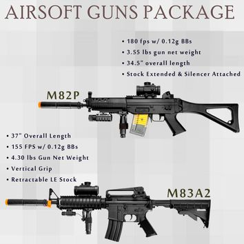 2 Pc Double Eagle M82P + M8Aa2 M4A1 Full & Semi Automatic Airsoft Assault Rifle