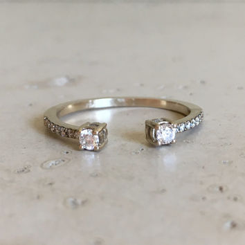 18k Diamond Double Ring- White Gold Minimalist Ring- Diamond Gold Split Band- April Birthstone Ring- Boho Chic Diamond Ring