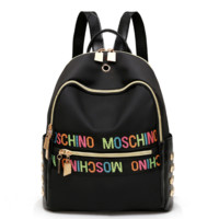 '' MOSCHINO '' Women Casual School Bag Cowhide Leather Backpack