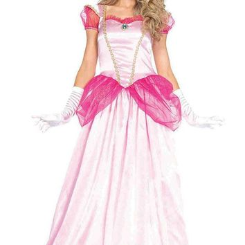 Pretty Princess Pink Satin Sheer Mesh Puff Sleeve Ruffle Sweetheart Neck A Line Ball Gown Maxi Dress Halloween Costume