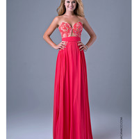 Watermelon Pink Strapless Gown