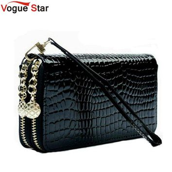 2018 High Quality Black Purse Women Leather Purses Wallets Luxury Brand Wallet Double Zipper Day Clutch Coin Card Bag LB203