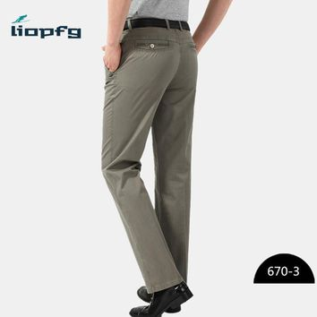 Middle-aged men's casual pants summer thin section trousers high-quality fabric loose men's straight pants six colors MK595