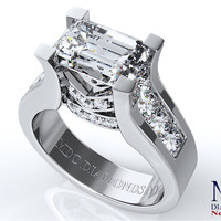 Engagement Ring - Modern Horizontal Emerald Cut diamond Engagement ring in 14K White Gold - ES550PRECWG