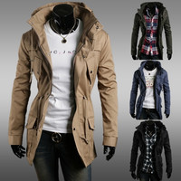 Men's Fashion Turtle Neck Zip Up Slim Fit Jacket