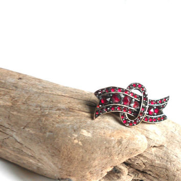 Antique Czech Bohemian Garnet Glass Lingerie Pin by BebeAndKay