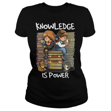 Hermione and Belle knowledge is power shirt Classic Ladies Tee
