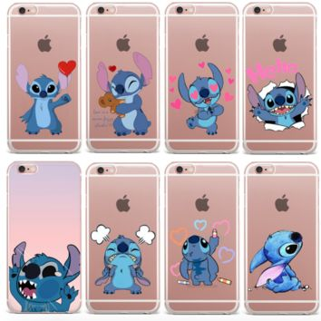 For iPhone 8 7 6 Plus 5 5s FUNNY Blue Stitch Cartoon Case Cover Soft Tpu Cover