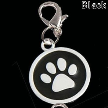 Pet supplies dog cat collar jewelry pendants, round silver tone enamel animal pawprint charms with lobster clasp