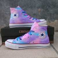 painted shoes converse Gradient sky hand-painted shoes Girls Custom galaxy starry sky,children shoes, men shoes ,women shoes,