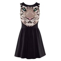 ZLYC Ladies Tiger Head Pattern Sleeveless Skater Dress for Women