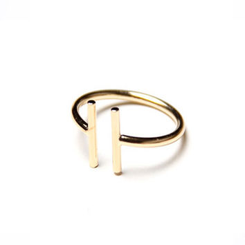 Double T Ring - Gold