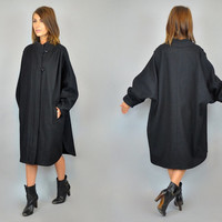 vtg 80s draped black WOOL CAPE coat jacket modern COCOON avant garde, extra small-extra large