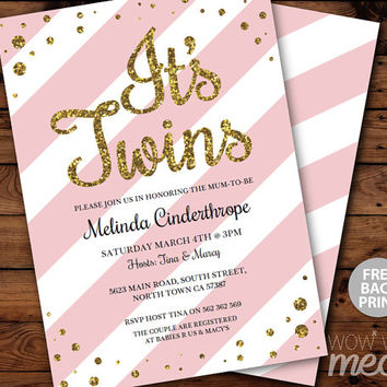 It's TWINS Girls Baby Shower Invitation INSTANT DOWNLOAD Gold Glitter Pink Girl Personalize Party Invites Editable & Printable Edit @Home