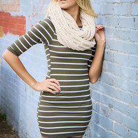 Seeing Stars Olive & White Striped Bodycon Dress