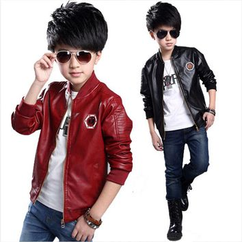 baby boys Leather jacket Kids clothes boys PU Jacket Children sping fashion embroidery Leather Outwear Baby boys Coats 7~15 T