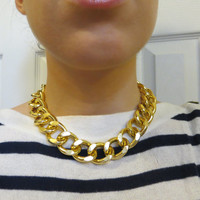 Madison -  Shiny Chunky Adjustable Gold Chain Curb Necklace