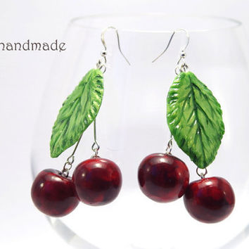 Huge cherry earrings - Made to order