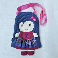 Sweet dolly bag for girls, to fun and for beauty, cherry red & navy blue, frilly skirt, manual painted, decorative buttons