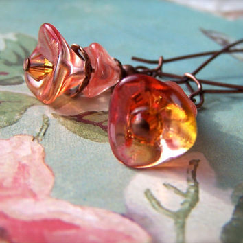 Orange Earrings, Burnt Orange Flower Bead Earrings, Cute, Vintage Style