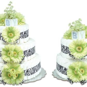 Bloomers Green Daisies with Zebra Baby Diaper Cake
