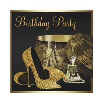 Pearls High Heel Shoes Black Gold Womans Birthday Custom Invite from Zazzle.com