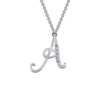 Lafonn Initials By Rhonda Faber Green Sterling Silver Platinum Plated Lassire Simulated Diamond Necklace (0.04 CTTW)