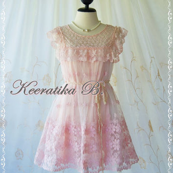 Princess Diary Dress II - Sweet Light Pink Organza Lace Dress Marie Antoinette Inspired Cocktail Dress Prom Dress Party Bridesmaid Dress