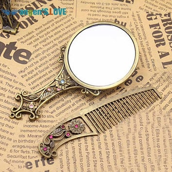 Classic Retro Vintage Makeup Mirror Compact Copper Golden Hollow Out Cosmetic Held Hand Mirror with Hair Comb