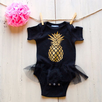 Pineapple Newborn Baby Infant Tutu Onesuit Bodysuit Girl Baby Shower Birthday Gift Infant Take Home Outfit Sparkle Baby Beach Baby Kardashian