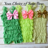 Ruffled lace rompers in green, lime or sage have layers and layers of ruffled lace throughout and come embellished with a 4 inch satin bow of your choice. Your Final Touch